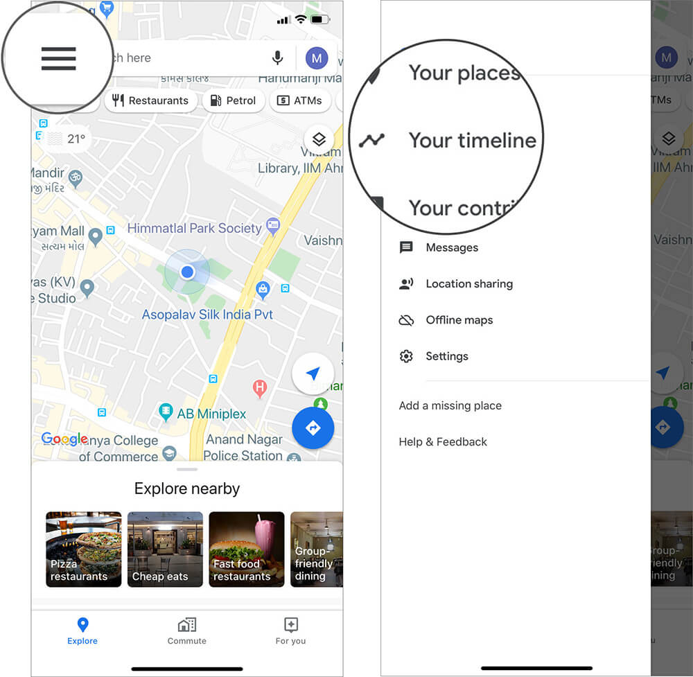 Tap on Hamburger icon and Select Your Timeline in Google Maps on iPhone