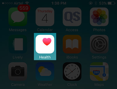 Tap on Health App on iPhone