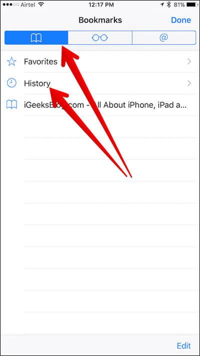 Tap on History in Safari on iPhone