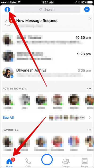 Tap on Home Then Profile Icon in Messenger App on iPhone