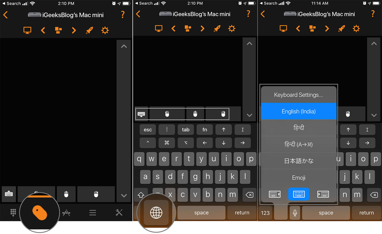 Tap on Input Tab and Add Text or Choose Preferred Keyboard from Remote Control for Mac App