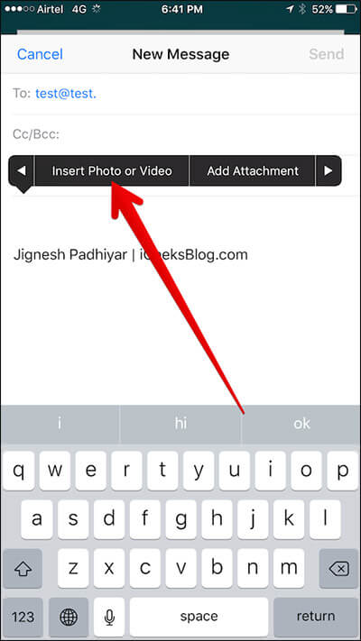 Tap on Insert Photo or Video in Mail App on iPhone