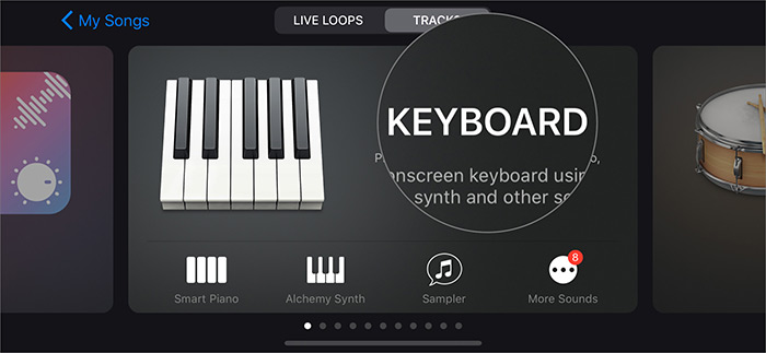 Tippen Sie in der GarageBand-App auf dem iPhone auf Instrument