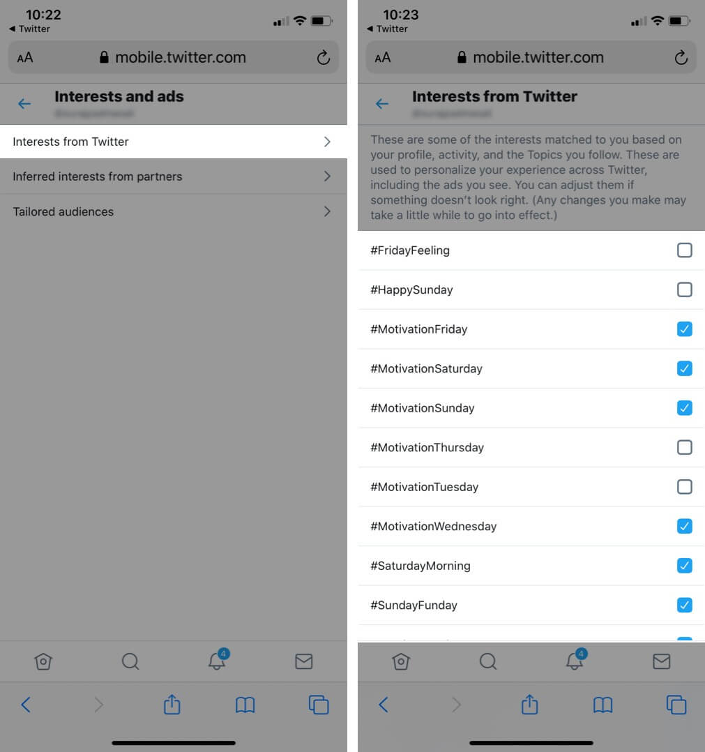 Tap on Interests from Twitter and Select or Unselect Interest in Twitter