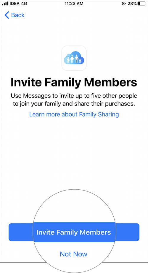 Tap on Invite Family Members in iOS Family Sharing