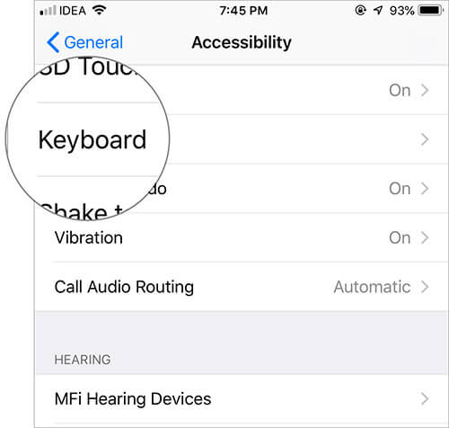 Tap on Keyboard in Accessibility on iPhone