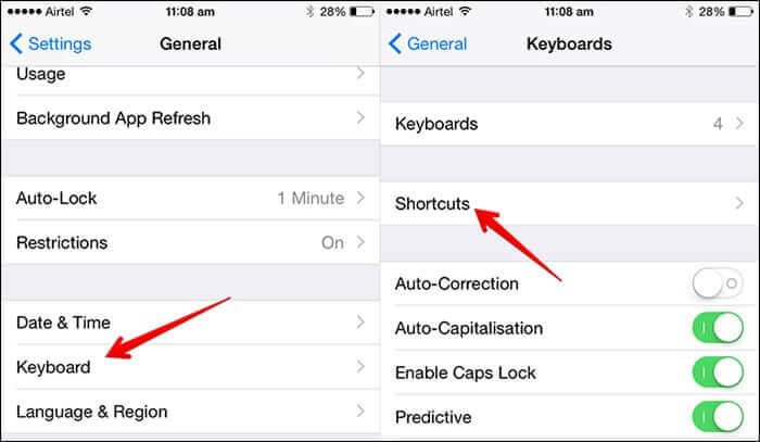 Tap on Keyboards then Shortcuts in iOS 8 on iPhone