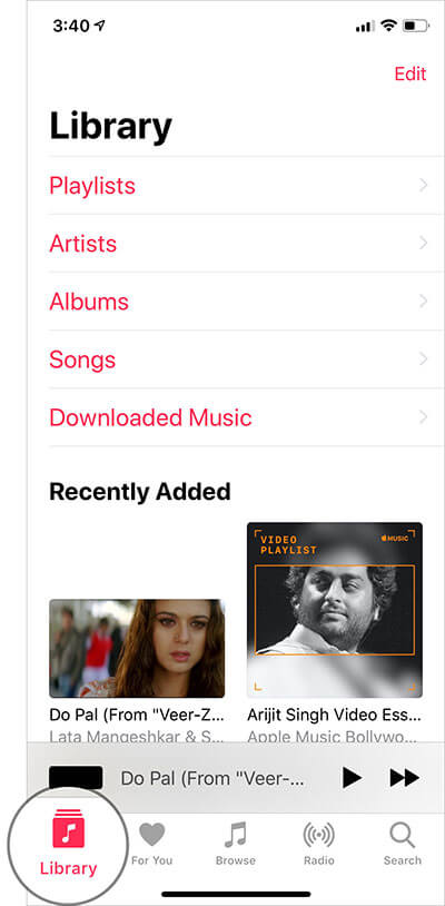 Tap on Library Tab in Apple Music