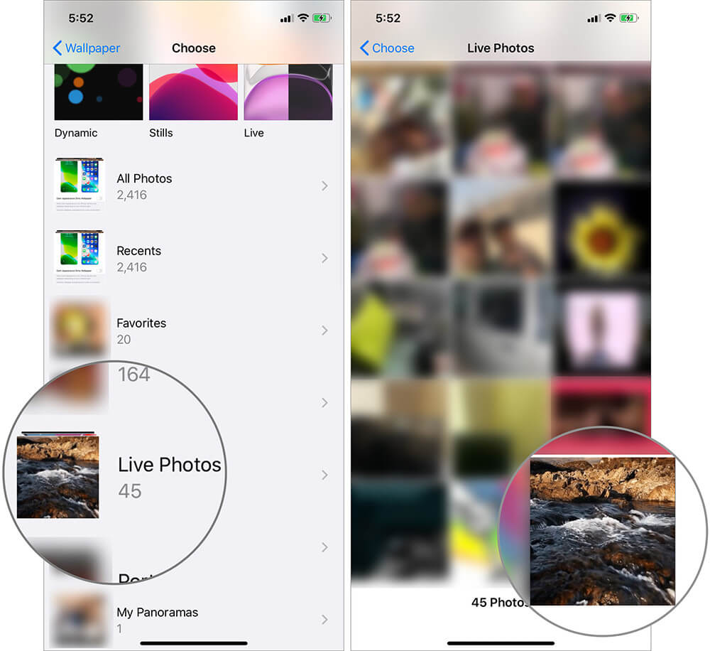 Tap on Live Photos Album and Select a Picture on iPhone