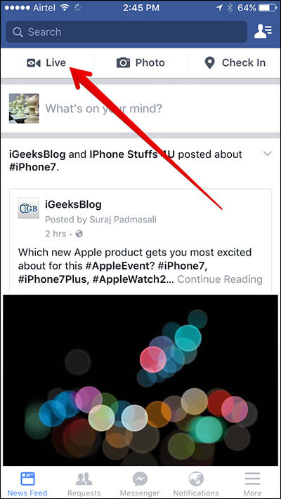Tap on Live Tab in Facebook on iPhone