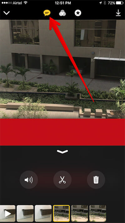 Tap on Live Title Button in Clips App on iPhone