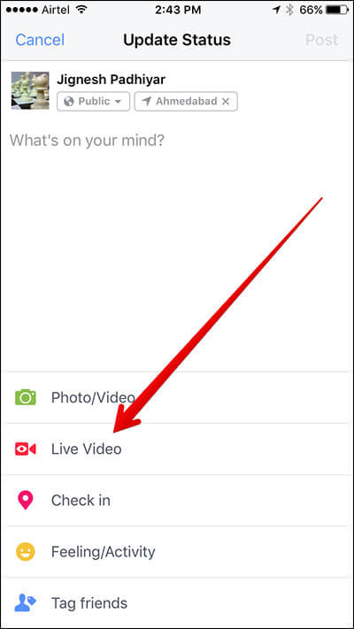 Tap on Live Video in Facebook on iPhone