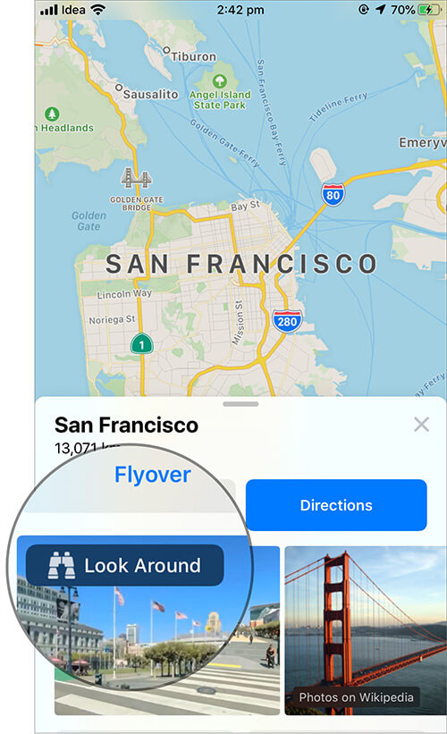 Tap on Look Around in iOS 13 Apple Maps App