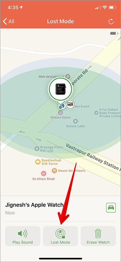 Tap on Lost Mode Apple Watch in Find My iPhone App