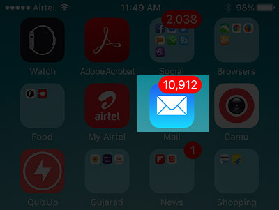 Tap on Mail App on iPhone
