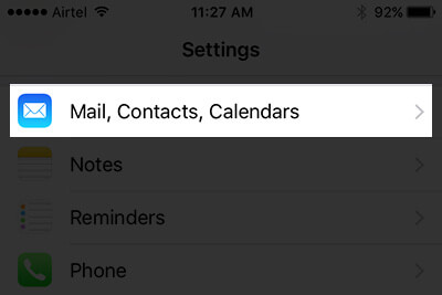 Tap on Mail, Contacts, Calendars in iPhone Settings