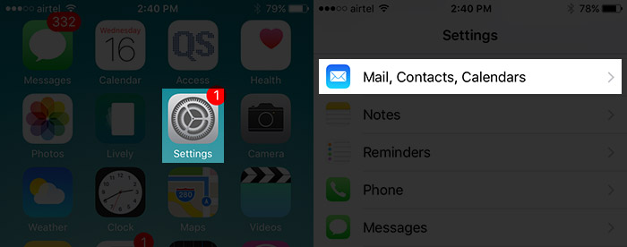 Tap on Mail, Contacts and Calendars Settings on iPhone