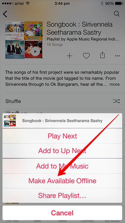 Tap on Make Available Offline in Apple Music in iPhone