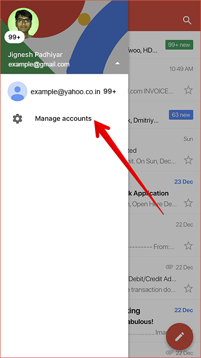 Tap on Manage Account in Gmail on iPhone or iPad