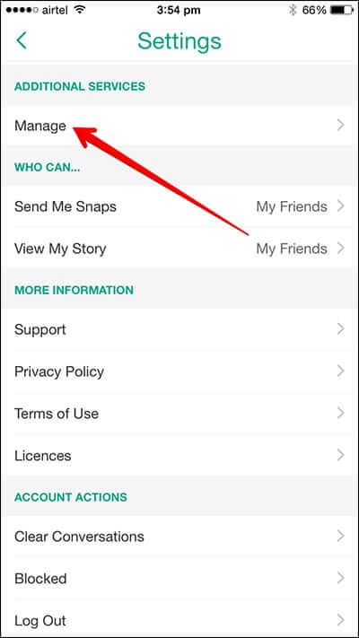 Tap on Manage in Snapchat Profile