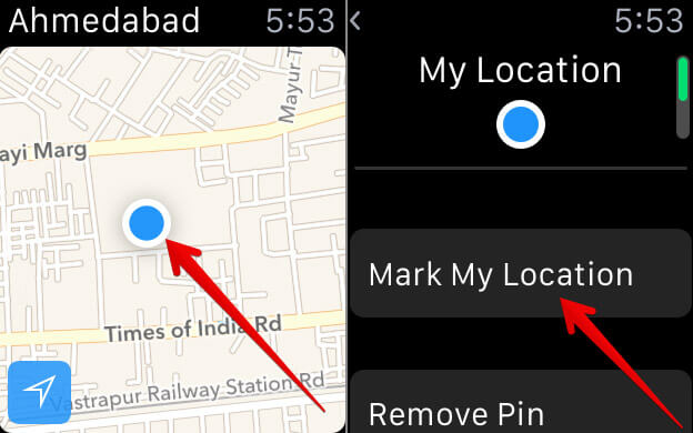 Tap on Mark My Location on Apple Watch