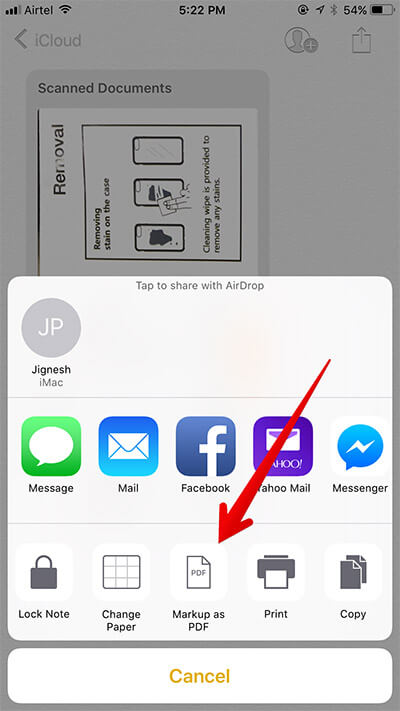 Tap on Markup as PDF in Notes App in iOS 11