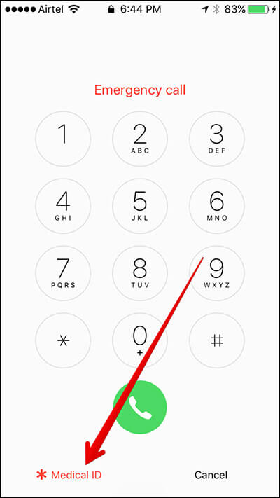 Tap on Medical ID in Lock Screen iPhone