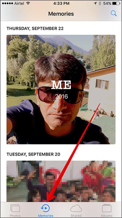 Tap on Memories Tab in iOS 10 Photos App