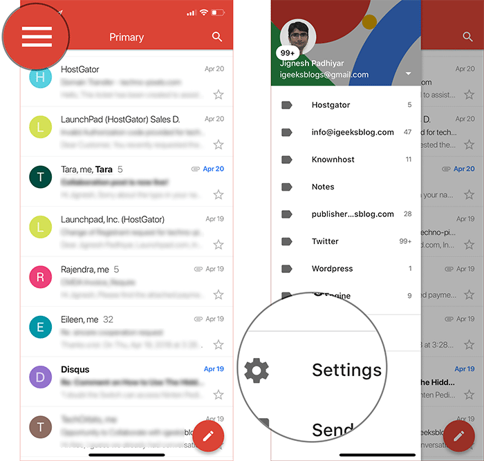 Tap on Menu Button then Tap on Settings in Gmail App on iPhone, iPad, or Android Phone