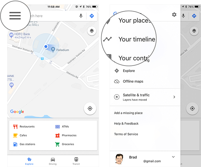 Tap on Menu Button then Tap on Your Timeline in Google Maps on iPhone, iPad, or Android