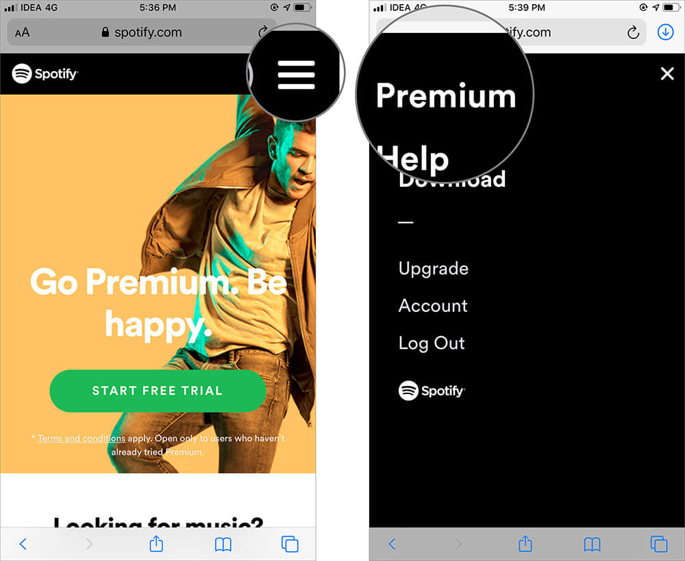 Tap on Menu and Select Premium in Spotify on iPhone