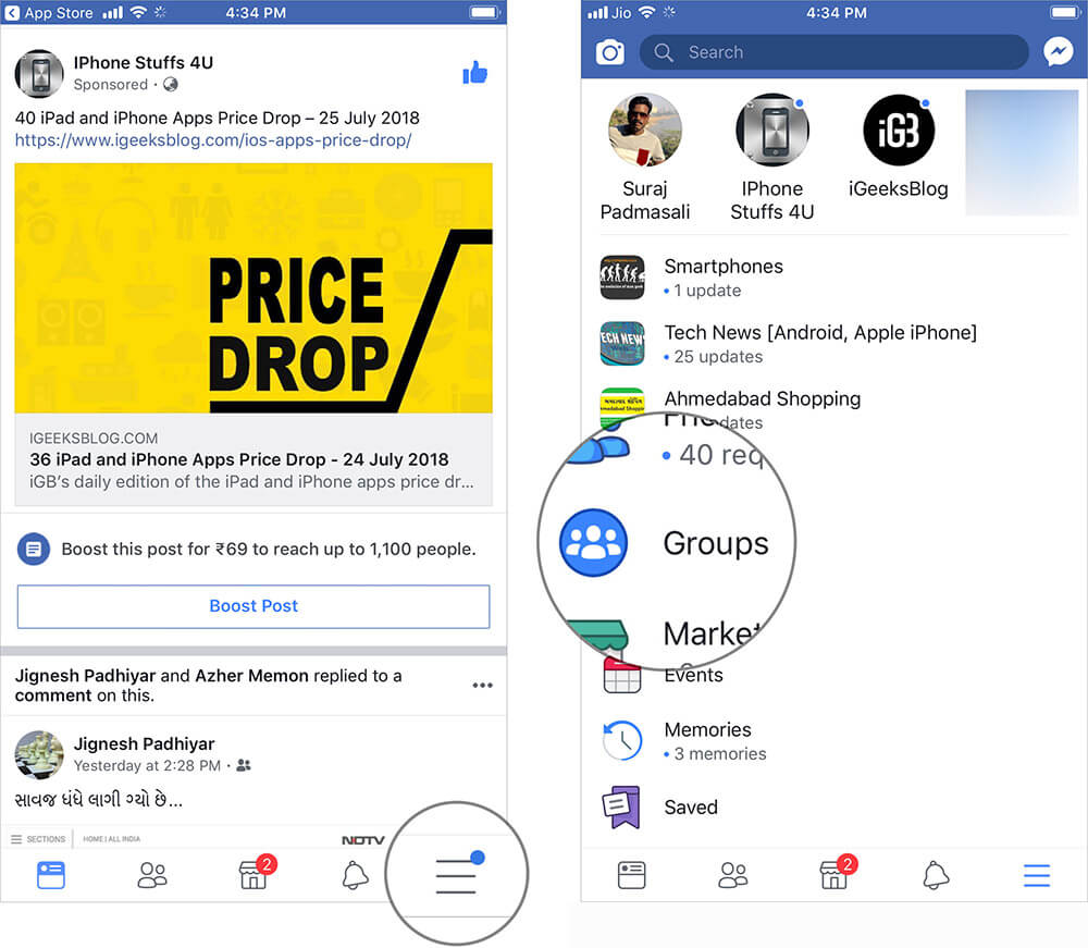 Tap on Menu and then tap on Groups in Facebook App