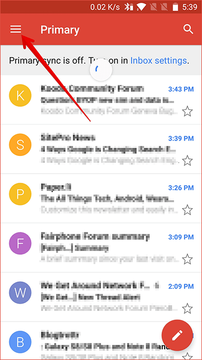 Tap on Menu in Gmail On Android Phone