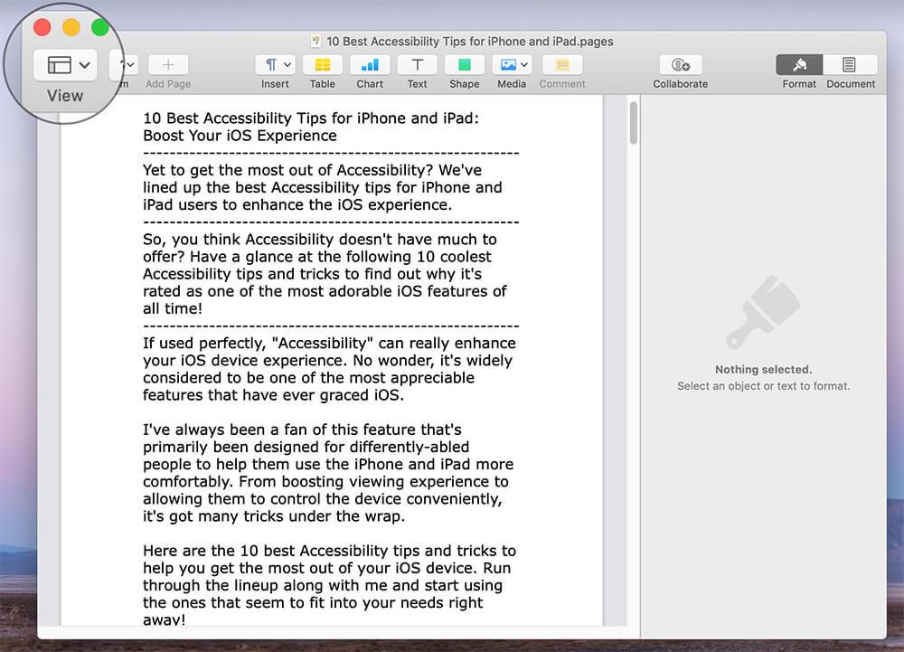 Tap on Menu in Mac Pages app