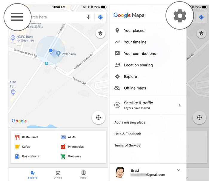 Tap on Menu then Settings in Google Maps on iPhone or iPad