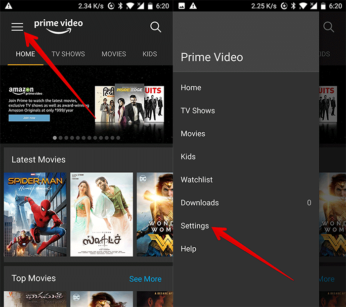 Tap on Menu then Settings in Prime Video on Android Device