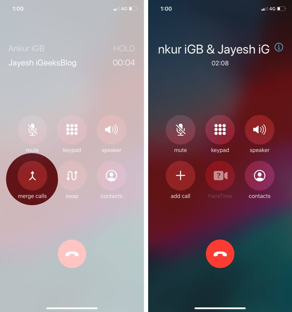 Tap on Merge Calls to Add Person to Conference Call on iPhone