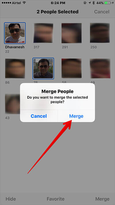 Tap on Merge to Confirm