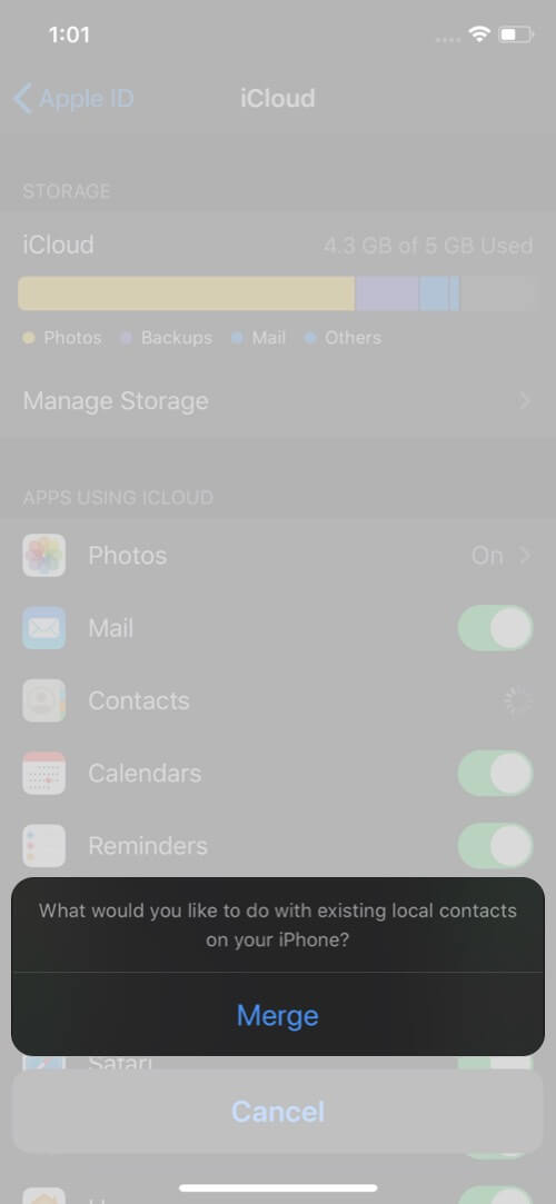 Tap on Merge to Merge All Contacts on iPhone