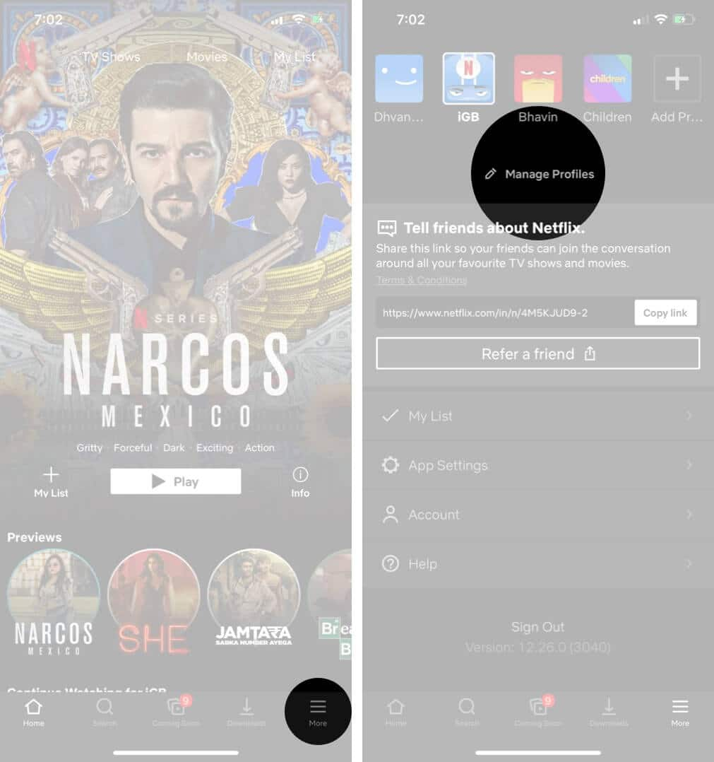 Tap on More and Then Tap on Manage Profiles in Netflix on iPhone