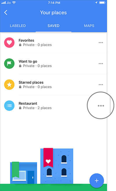 Tap on More button next to the Google Map list