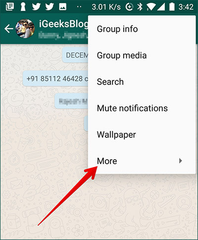 Tap on More in WhatsApp Chat on Andorid Phone