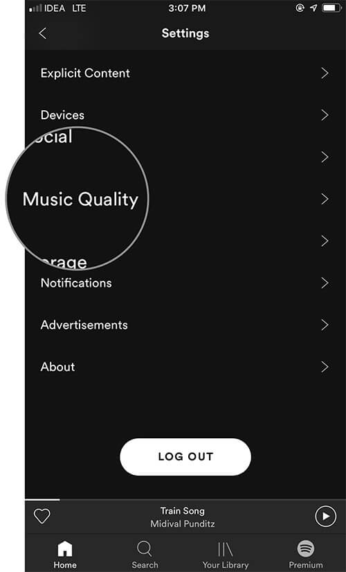Tap on Music Quality in iOS Spotify app