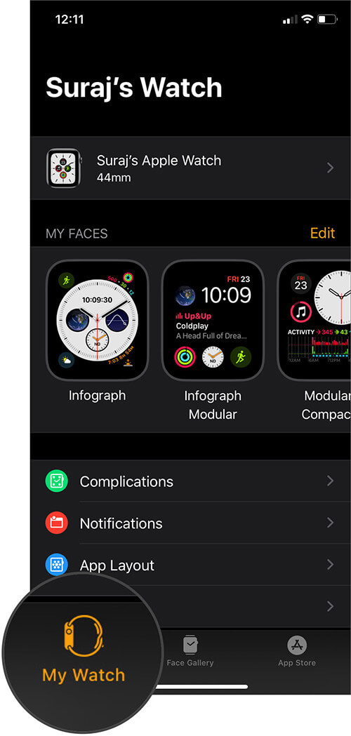 Tap on My Watch Tab in Watch App on iPhone