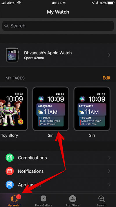 Tap on My Watch then Siri in Apple Watch App on iPhone