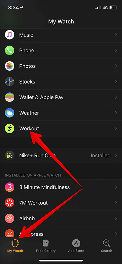 Tap on My Watch then Workout in Apple Watch App on iPhone