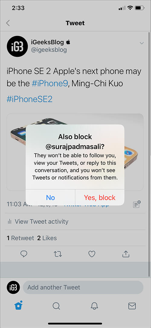 Tap on NO or Yes Block in Twitter app on iPhone