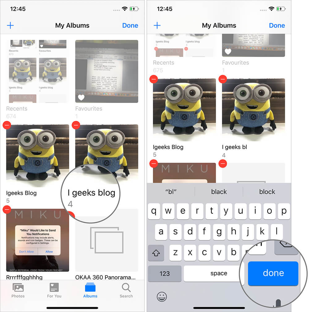 Tap on Name to Rename Albums on Photos App on iPhone