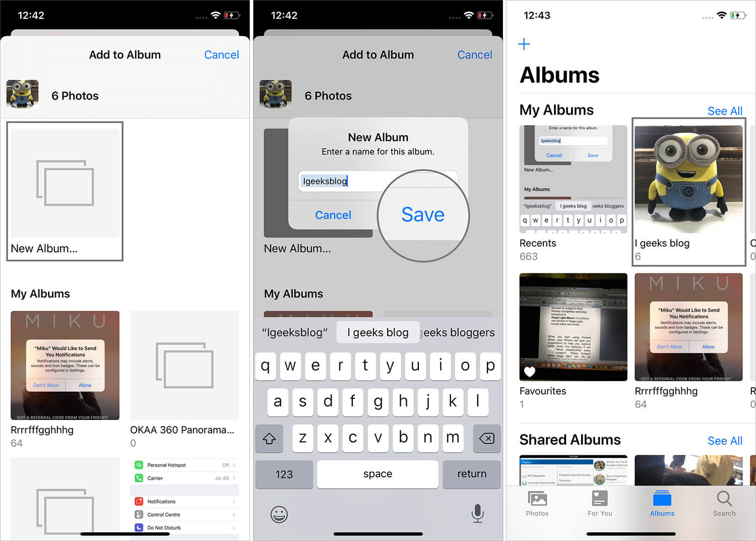 Tap on New Album to Add Photos in iOS 13 Running iPhone
