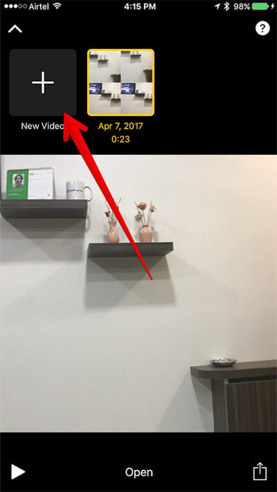 Tap on New Video in Clips App on iPhone